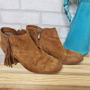 Sam Edelman Brown Leather Fringe Booties